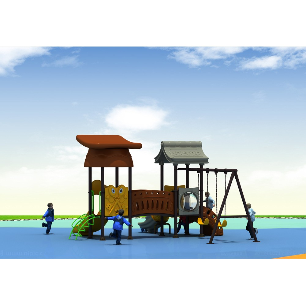 Produced China Newest Design Kindergarten Outdoor Playground with Swings Plastic Slide